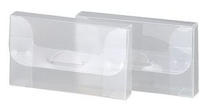 [Utgående] Visitkortsbox i 0,50 glasklar pp, Monterat mått 93x55x12mm. Lev. plano. 25-pack
