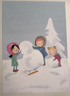 Julkort - Oliver i snön 5 pack