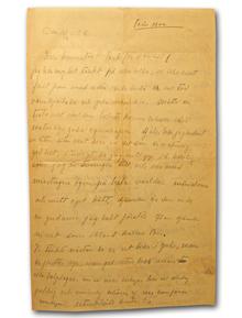 Martinson, Moa (1890–1964): Egenhändigt skrivet och undertecknat brev i blyerts [till Olle Wedholm och Vera Bergstedt], 43 rader på 2 s. (35 x 21,5 cm), daterat 12/12 1928.