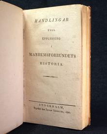 [Almqvist, Carl Jonas Love]: Handlingar till upplysning i Manhemsförbundets historia.