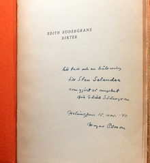 Södergran, Edith: Edith Södergrans dikter. Med inledning av Hagar Olsson.