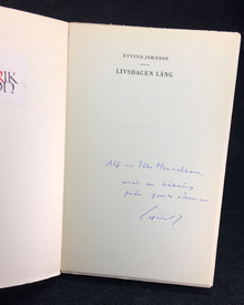 Johnson, Eyvind: Livsdagen lång. En roman, berättad i Rom.