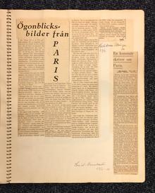 (Hallman, Adolf) (Göteborg 1893-1968 Rom): Adolf Hallmans eget urklippsalbum med recensioner av hans fyra första böcker, samt med ett handskrivet brev från Isaac Grünewald och ett från Hjalmar Söderberg.