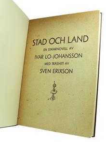 Lo-Johansson, Ivar: Stad och land. En statarnovell. [...] Med träsnitt av Sven Erixson.