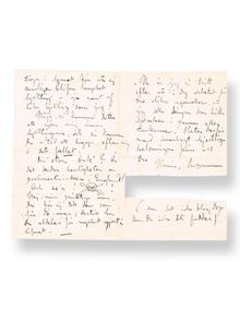 Larsson, Carl (1853-1919): Intressant, egenhändigt skrivet brev till vännen och tidningsmannen August Strömbäck (1855-1886), om oppositionen mot Konstakademien och Carl Larssons avsägelse av agrévärdigheten.