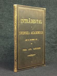 (Grafström, Anders Abraham) - Dahlgren, Fredrik August: Inträdes-tal i Svenska Akademien den 20 december 1871.
