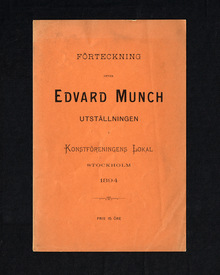 (Munch, Edvard) (Ådalsbruk 1863-1944 Oslo): Förteckning öfver Edvard Munch utställningen i Konstföreningens lokal.