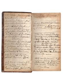 (Norstedt, Per Adolf - provenance) [Family Bible of P. A. Norstedt (1763–1840).] Biblia, thet är: all then helga skrift, gambla och nya testamentsens, på swensko: med korta summarier för hwart capitel, och fulkomliga concordantier, förnemligast til the resandes och studerandes tienst, i thetta format, med kongl. maj:ts allernådigsta serdeles tilstond och privilegio til trycket befordrad.