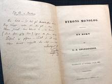 Adlersparre, C. A.: Byrons monolog. En dikt. […] Prisbelönt af Svenska Akad., 1836.