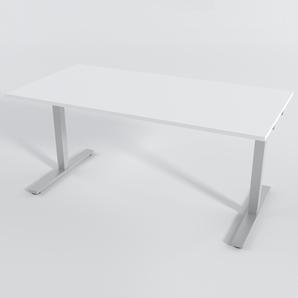 Schreibtisch Rechteck Elektrisch 140x80 cm HP Laminat Weiß