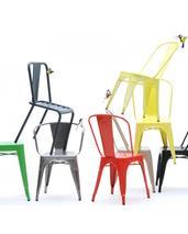 Tolix A stol ,basfärger, blank  4 - pack