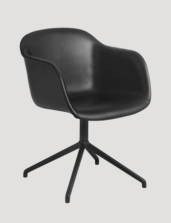 Muuto Fiber leather armchair, swivel base