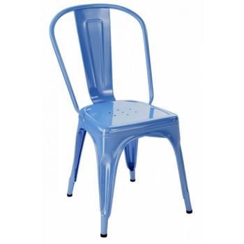 Tolix A stol , blå provence , blank