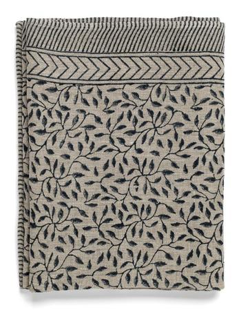 Chamois-linneduk-leaf-steel grey 170x270 cm