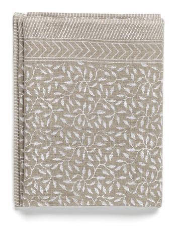 NYHET Chamois-linneduk-leaf-white 170x270 cm
