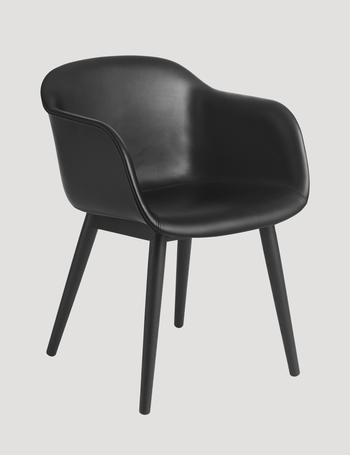 Muuto Fiber leather armchair, wood base