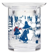 Moomin tealight holder, glass - Winter Forest