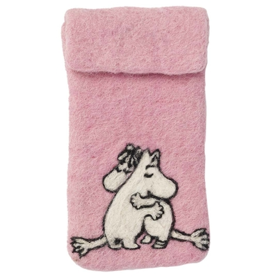 """Mumin, rosa iPhone-fodral i handfiltad ull, """"Kärlek"""" Klippan"""