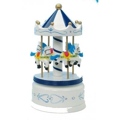 Träkarusell med hästar - vit/blå, stor