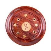 Sheesham Wood Round Ash Catcher Yin Yang Inlay