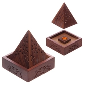 Sheesham Wood Pyramid Incense Cone Box with Flower Fretwork