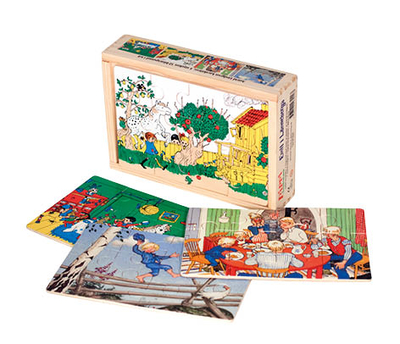 Astrid Lindgren characters, 4 wooden puzzle in box