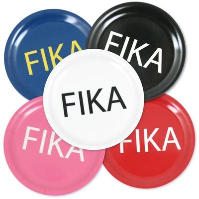 Fika coaster, black with white text