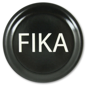 Fika coaster, black with white text