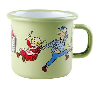 Enamel mug 2,5 dl - Emil & Ida, green