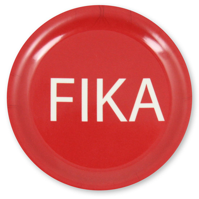 Fika coaster, red with white text