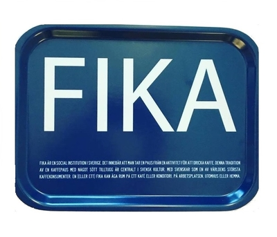 Fika tray, blue with white English text