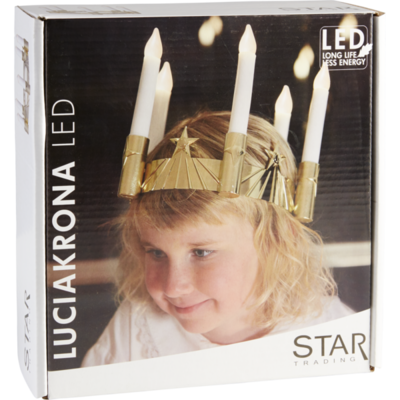 Lucia crown with candles, gold