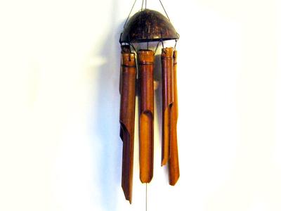 Vindspel av bambu - 30 cm, brun