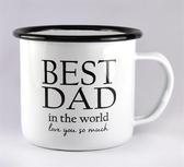 Best Dad enamel mug 3,7 dl, white with black text
