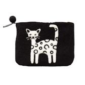 Katt, svart börs i handfiltad ull, Klippan