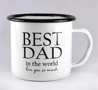 Enamel mug - Best Dad, white/black text