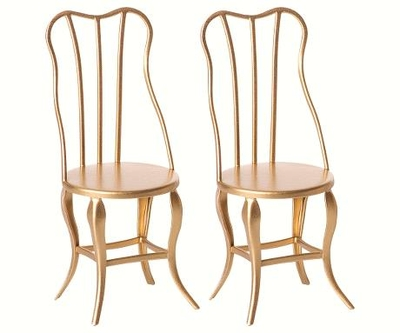 Maileg - Vintage chair 2-pack, gold, for Micro