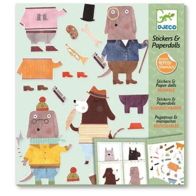 Djeco Sticker & paper dolls, My dog friends