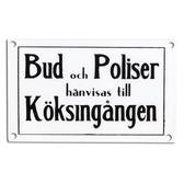 Emaljskylt Bud & Poliser