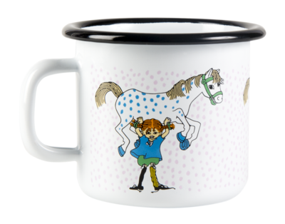 Pippi enamel mug, 2,5 dl - Pippi and the Horse, white