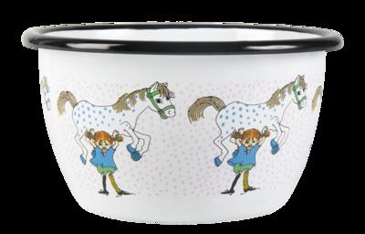 Enamel bowl 6 dl - Pippi and the Horse, white