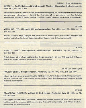 ARKITEKTUR 1959/12 ÅKESHOV, Ivo Waldhör, VANTONGERLOO, KUNGÄLVSMÄSSAN, Philip Webb, William Morris
