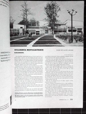 Architecture 1959/11 GULLBERNA KARLSKRONA Lars-Erik Lallerstedt , KYRKA OCH FÖRSAMLINGSHUS I SÄFFLE