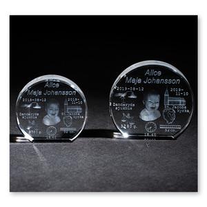 3D-kristall med egen bild. 10,5 cm