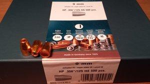 """HN 9 mm HP .356""""/125 Grain HP HS, 500 st"""