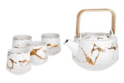 Tekanna med 4 koppar - Vit med guldmönster