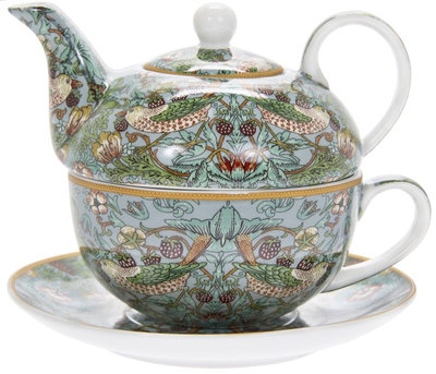 Tea For One Set - Morris Teal Strawberry Thief  - Kopp & Kanna