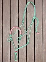 Braided sidepull rope halter with loops