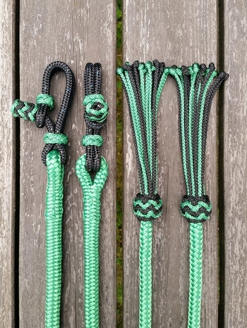 Split reins with rope connectors and tassels