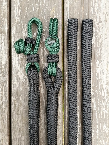 Split reins with rope connectors and back splices